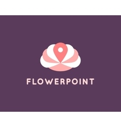 Flower and pin logo vector