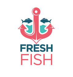Fresh fish emblem with red anchor isolated vector