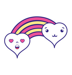 Full color tender and in love hearts clouds kawaii vector