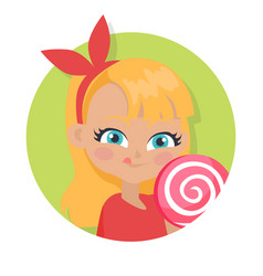 girl with fair long hair and red bow big lollipop vector image vector image