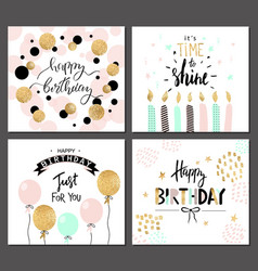 Happy birthday greeting cards and party invitation vector