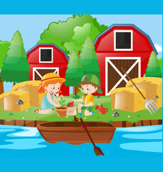 kids planting tree in the farm vector image vector image