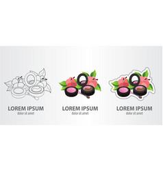 logos eyeshadow and lip gloss contour logo stroke vector image
