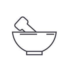 Mortar and pestle line icon sign vector