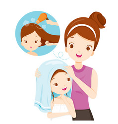 mother rub daughter hair with towel vector image vector image