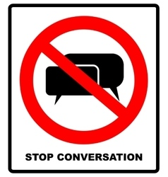 No stop sign forbidden head talking silhouette vector