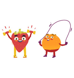 orange strawberry characters doing sport exercises vector image