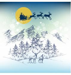 santas sleigh on christmas night flying over vector image