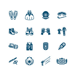 scuba diving icons - micro series vector image vector image