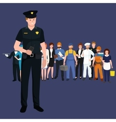 Serve and protect Police man officer male vector image