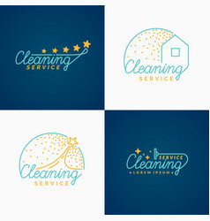 Set cleaning logo vector