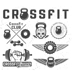 Set of fitness emblems vector image vector image