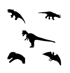 Set of silhouette dinosaur black vector