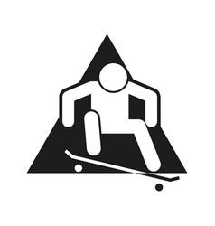 Skateboard ollie block sport outline figure symbol vector