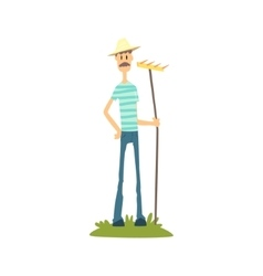 Skinny farmer in stripped t-shirt vector