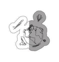 Sticker contour of world with means of transport vector