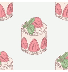 Strawberry cream cake with mint seamless pattern vector image vector image
