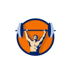 Weightlifter Lifting Barbell Circle Retro vector image vector image