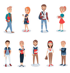 Young people in casual clothes standing set vector
