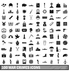 100 war crimes icons set simple style vector