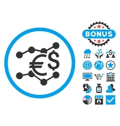 Currency trends flat icon with bonus vector
