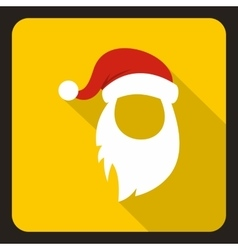 Red hat and long white beard of santa claus icon vector