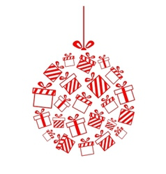 Christmas ball made from gift boxes vector
