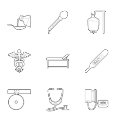 Purpose of treatment and diagnosis icons set vector
