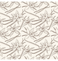Vanilla stick and flower hand drawn seamless vector image