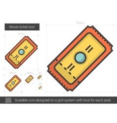 Movie ticket line icon vector