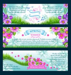 Spring season greetings banners vector