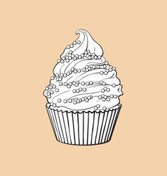 Hand drawn cupcake with perfect cream swirls and vector