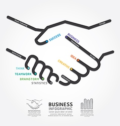business handshake diagram line style template vector image