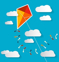 Paper kite on blue sky with clouds vector