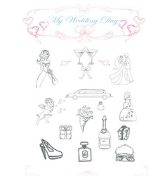 Wedding doodle set vector