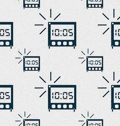 Digital alarm clock icon sign seamless pattern vector