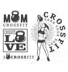 Set of fitness emblems vector