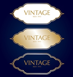 Gold vintage frame badges and labels background vector