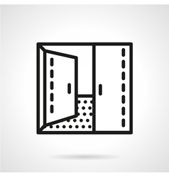 Open double door simple line icon vector