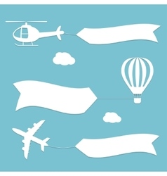 Plane air balloon and helicopter flying with vector