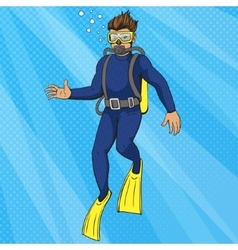 Diver uder water pop art style vector