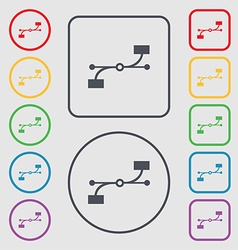 Bezier curve icon sign symbols on the round and vector