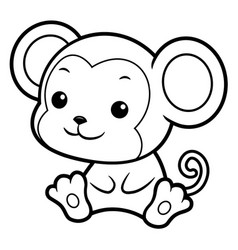 Black and white monkey character sits forward vector