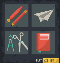 Black background squares set with paper plane vector