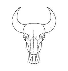 Bull skull icon in outline style isolated on white vector