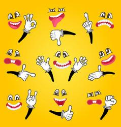 cartoon cute emoticon set vector image