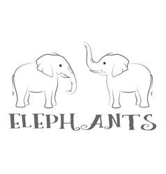 cartoon elephants contours vector image