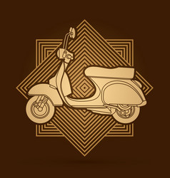 Classic scooter side view graphic vector