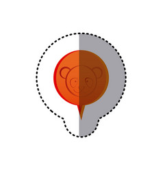 Color sticker with panda face in circular speech vector