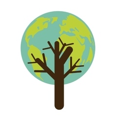 Colorful tree with leaves in shape earth world vector